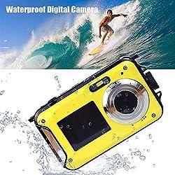Appareil photo numérique etanche compact, 1080P HD Digital Camera Anti-Choc Avec 24 millions de pixels, Zoom 5M 16X, 2.7inch LCD CMOS, DC Caméra Double Ecran avec Objectif Macro et Flash Light
