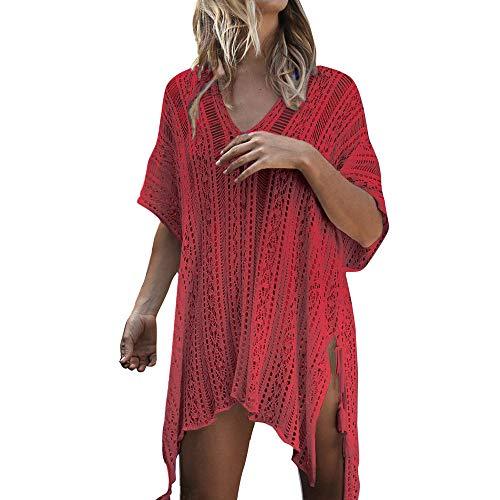YEARNLY Damen Gestrickte Strandkleid Sommer Strandponcho Strandurlaub Badeanzug Bikini Cover-Ups mehrere ()