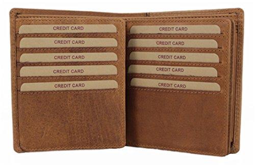 Geldbörse Herren Leder XL Portemonnaie Brieftasche Portmonee Geldbeutel Kreditkartenetui Wallet Vintage Organizer Reisebrieftasche aus hochwertigem Echt-Leder Hill Burry braun 5124