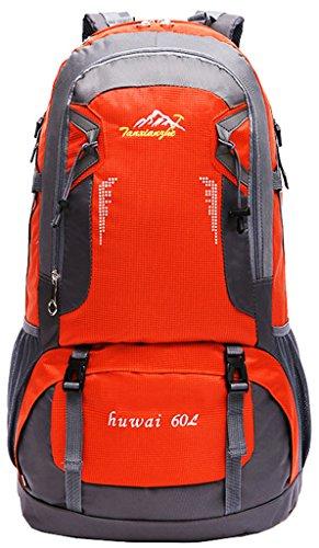 NEWZCERS 60L Impermeabile Borsa Sportiva Durevole Sportiva Borsa a Spalla Trekking Camping Escursionismo Zaino di Viaggio Zaino da Montagna Confezione da Arrampicata per gli Uomini orange
