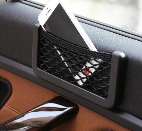 MobileGlaze Stretchable Car Item Organizer Universal Side Seat Net Bag Useful Black Mesh Pocket Self Adhesive Phone Holder  available at amazon for Rs.76