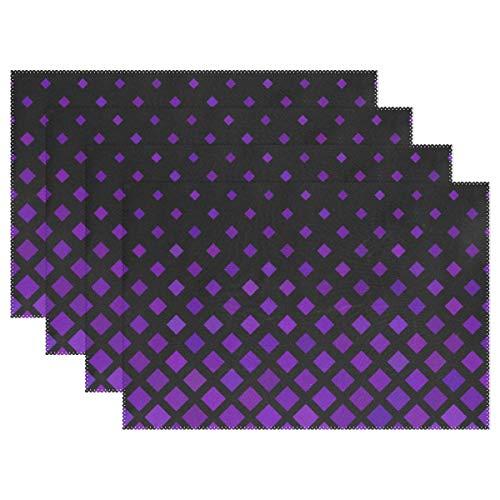 Promini Hitzebeständige Tischsets, lila, quadratisches Muster, waschbar, Polyester, Rutschfest, waschbar, Platzsets für Küche und Esszimmer, 4 Stück (Kokos Kostüme Muster)