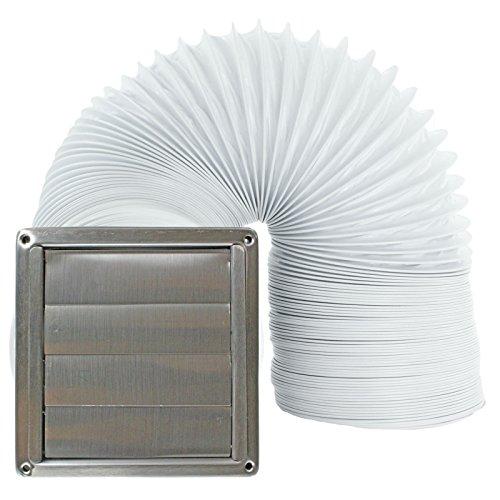 spares2go carrée en acier inoxydable mur/plafond extracteur d'air grille d'aération + Tuyau (100mm/10,2cm Diamètre, longueur du tuyau: 4mètres)