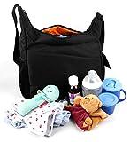 Sac à langer et de transport pour les affaires de bébé avec compartiments intérieurs de rangement, poches extérieures et lanière réglable - noir, fermeture à glissière - DURAGADGET