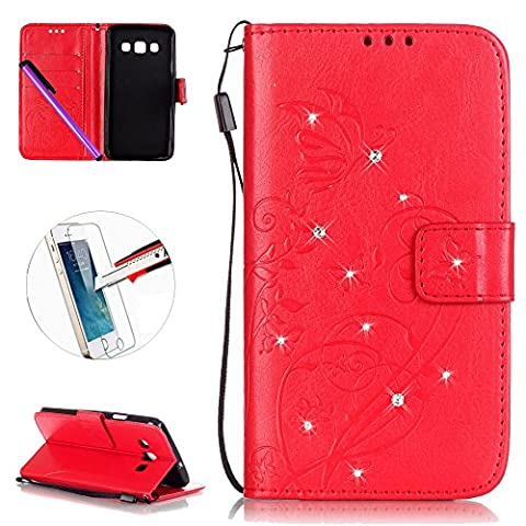 Samsung Galaxy A3 2015 Leather Case Wallet Book Cover , NEWSTARS Lightweight Folio Flip Shiny Bling Rhinestone PU Case Diamond Design Mobile Cell Phone Cover Protect Skin Leather Case For Samsung Galaxy A3 2015 Kickstand Card Holder ID Pouch / Cash Pocket / Card Slots + 1Pcs Screen Protector + 1Pcs Stylus Touch Pen - Diamond Red