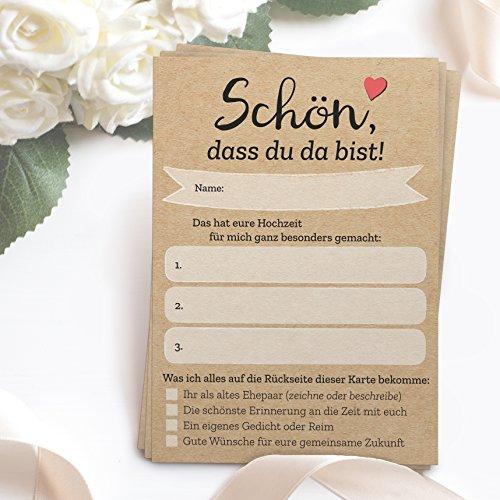 52 Postkarten - Schön, dass du da bist - mit INDIVIDUELLEN Fragen als Hochzeitsspiel für Gäste oder als Alternative zum Hochzeitsgästebuch (DIN A6) - Box Wünsche Hochzeit Karte