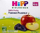 Hipp Biologique 100 % Fruits Poires Prunes Cassis Coupelles 100 g Dès 6 Mois - 4x100g