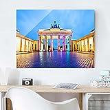 Druck auf Glas Art Wand Berlin–beleuchtet Brandenburger Tor–Cross 3: 4Druck auf Glas, Glas Druck, Glas Bild, Wandbild, Glas Bild, Wandbild, Glas Wandbild, Glas-, Wandbild, Dimension HxB: 70cm x 100cm