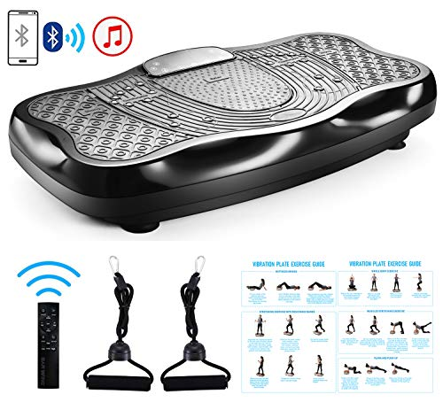 FITODO Vibrationsplatte Power Plate Vibrationstrainer Für Ganzkörper Training--Fernbedienung/Bluetooth Musik/Widerstandsbänder/Geschwindigkeits Einstellbar (Maximal belastung 150kg, Schwarz)