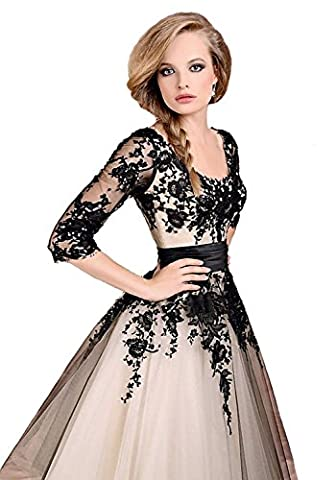 LYDIAGS Tea Length Lace Wedding Prom Ball Gown Evening Formal