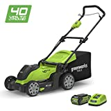 """Best Electric Lawn Mower Cordlesses - Greenworks 40V Cordless Lawn Mower 41cm (16"""") Review"""