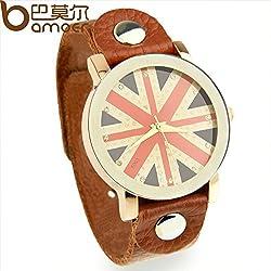 Newest Arrival Fashion Quartz Leather Strap UK Flag Watch Unisex Women Sports Britain Design Wristwatch PI0531