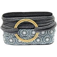 Wickelarmband Stoff Handmade Endlosarmband in grau und anthrazit mit Metallelement