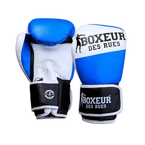 BOXEUR DES RUES Unisex- Erwachsene BXT-591 Premium-Boxhandschuh aus Leder, Blau, 10OZ