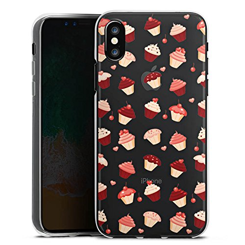 Apple iPhone X Silikon Hülle Case Schutzhülle Transparent mit Muster Cupcakes Kuchen Silikon Case transparent