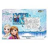 fundesign Disney Frozen - DIE EISKÖNIGIN - Anna UND ELSA - Puzzle 2-SEITIG ZUM AUSMALEN (100 Teile)