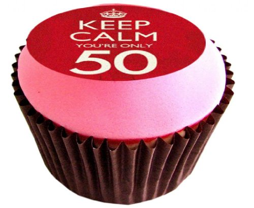 12 X 50TH BIRTHDAY KEEP CALM 38mm (1.5 Inch) PRE CUT CUP CAKE TOPPERS Essbare Tortendekoration Reis Papier Kuchen Dekoration