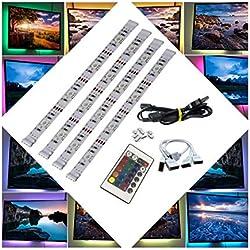 BRTLX LED TV Rétroéclairage Bande Kit D'éclairage 4 * 50cm Pour HDTV Cinéma Maison Accent Éclairage USB Alimenté RGB 5050 SMD Multicolore Avec 24 Clé Télécommande