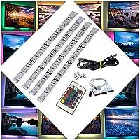 BRTLX Tira LED de Retroiluminación TV, Multi Colores RGB 5050 SMD 4x50cm para TV HDTV Teatro de Casa Alumbrado USB con Mando a Distancia de24 botones[Clase Energética A+]