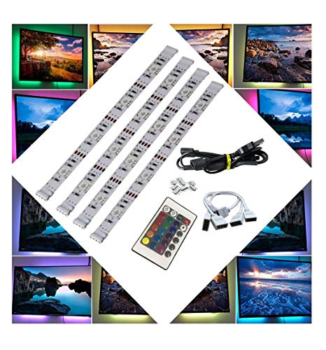 BRTLX LED TV Retroilluminazione Striscia Kits 4x50cm per HDTV Home Theater Accento Illuminazione USB...