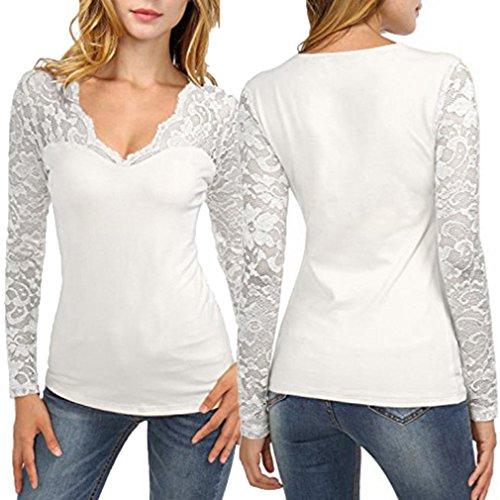 Chemise Femme,Manadlian Tuniques Femmes Dentelle Couture V-Neck T-Shirt Pull Tops Blouse Solide À Manches Longues Blanc