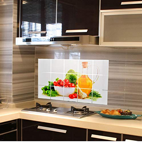 MYLOOO Mylooo75 * 45 cm Küche Öldicht Abnehmbare Wandaufkleber Aluminiumfolie Kunst Dekor Aufkleber Obst Öl Aufkleber Wandaufkleber