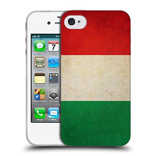 Head Case Designs Italia Italiano Bandiere Vintage Cover Morbida in Gel per Apple iPhone 4 / 4S