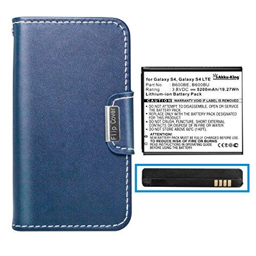 Akku-King Akku mit Tasche für Samsung Galaxy S4, S4 LTE, i9500, i9505, i9506 - ersetzt EB-B600BE, EB-B600BU - Li-Ion 5200 mAh - blau