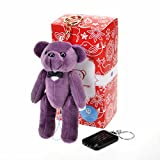 Bear Gentleman Schlüsselanhänger-Sicherheitsalarm in Teddybär-Fom, 130dB, Notfall- / Vergewaltigungsalarm, mit Smart-Position-App und Solar-LED-Taschenlampe, für iOS und Android, violett