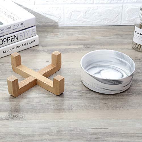DOARG Hundenapf Katzen Napf Hundenapf Katzenfutter Napf Keramiknapf Massivholz Abtropfbrett Marmor Muster Einfache Hochtemperatur Schöne Form (Color : Gray) -