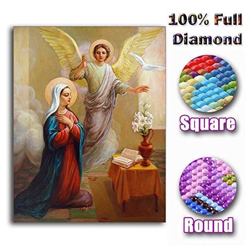 Nuevo Diamante Pintura Virgen María niños Cristiano Religión Jesús DIY 3D Diamante Bordado Amor Materno Niño Regalos Religiosos, Taladro Cuadrado 25X30 CM