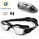 Zerhunt Swimming Goggles Adult Mens Womens - Mirror Swim Goggles Anti Fog with UV Protection No Leaking with Nose Clip and Earplugs, Designed for Adults and Kids over 10 Years Old