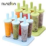 Unicoco Formen für Eis am Stiel, 6 Stück, aus lebensmittelechtem Kunststoff, mit Sockel 6.3 grün