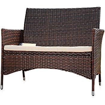 Rattan Garden Bench Black/Brown with Cushion Bench ...