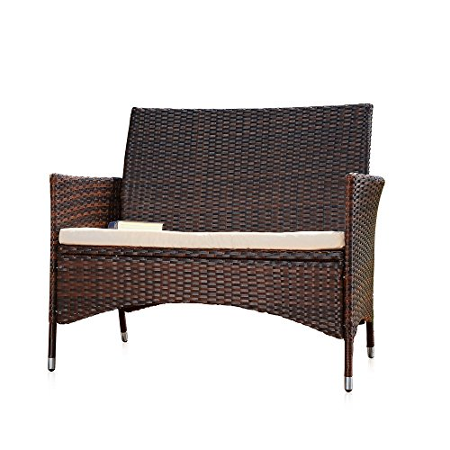 Ess-sets Bänke (Melko Gartenbank PolyRattan Gartenmöbel Lounge Sitzgarnitur, Braun)