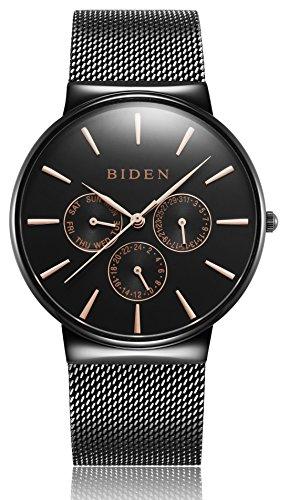 Herren Armbanduhr Klassisch Minimalistische Ultradünne Schwarzes Quarzuhr mit Datumsanzeige multifunktional, Milanese Armband