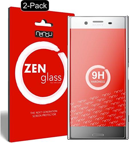 nandu I ZenGlass [2 Stück] Flexible Glas-Folie für Sony Xperia XZ Premium Panzerfolie I Display-Schutzfolie 9H I (Kleiner Als Das Gewölbte Display)