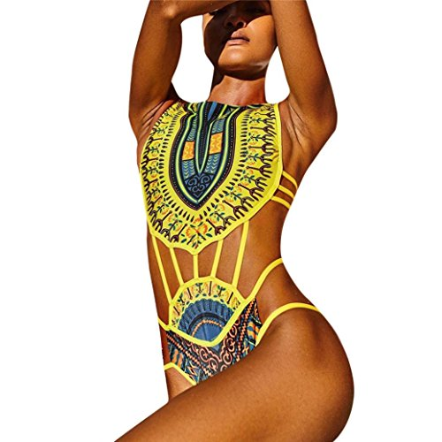 FORH Damen One Piece Bademode Vintage Tradition Stil Drucken Bikini Swimsuit Sexy Push-Up BH Bandage Tanga Slip Jumpsuits Swimwear Beachwear Sommer Badebekleidung (Gelb, XL) (Stil Badeanzug)