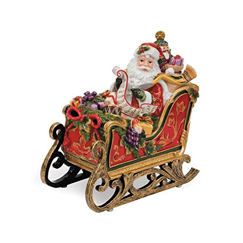 Fitz und Floyd Regal Holiday Collection Santa in Schlitten Musical Figur -