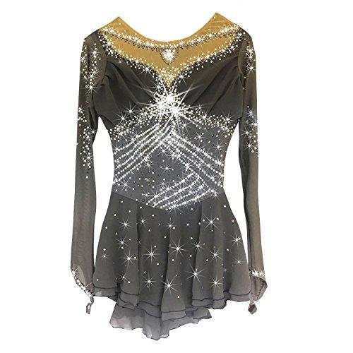auf Kleid Für Mädchen Und Frauen, Rollschuhkleid Wettbewerb Kostüm Langärmelig Eislaufen Kleid Grau,M ()