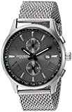 Akribos XXIV Men's Swiss Quartz Multi-Function Black Sunray Dial Mesh Stainless Steel Bracelet Watch AK905BK