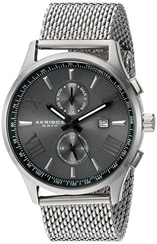 Akribos XXIV-Orologio da uomo al quarzo con Display analogico e cinturino in acciaio INOX color argento AK905SSB