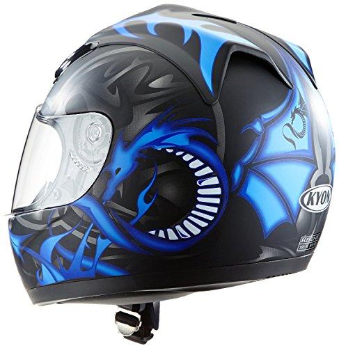 Protectwear H510-11BL-L Motorradhelm, Integralhelm mit Drachendesign, Größe L, Schwarz/Silber/Blau - 2