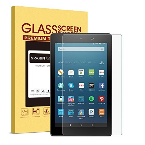 Fire HD 8 Schutzfolie, SPARIN Panzerglas folie für Fire HD 8 Tablet (5. Generation / Das neue 6. Generation 2016) [9H Härte] [Anti-Kratzen] [Anti-Bläschen] (Automatische Release Messer)