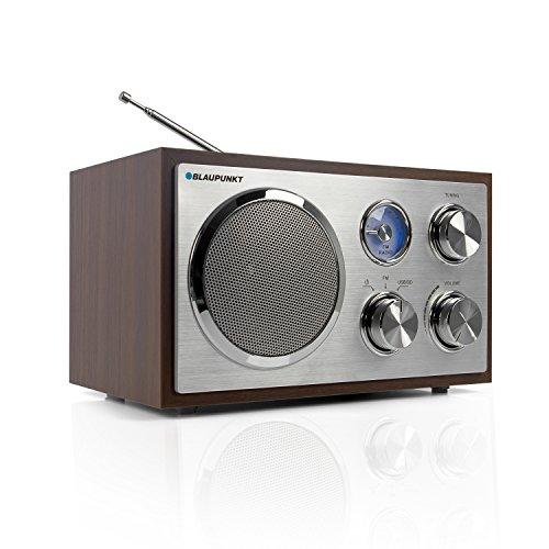 BLAUPUNKT RXN 19 WN Retro Radio, Nostalgie-Designradio mit USB-Port 2.0 und SD Kartenleser, UKW/FM Küchenradio, Kofferradio mit Holzgehäuse, Teleskopantenne, Analog-Tuner Walnuss