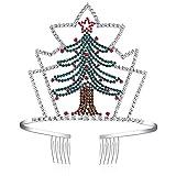 BABEYOND Couronne de Noël Cristal Rhinestone Bandeau de Noël Crown Tiara Rhinestone Serre-tête de Noël Décoration Fête de Noël pour Enfant, Sapins de Noël