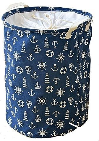 Dushow Grande taille fermé étanche Revêtement Ramie Tissu de coton Panier à linge pliable Seau cylindrique sur toile en toile de jute Panier de rangement -3Couleurs