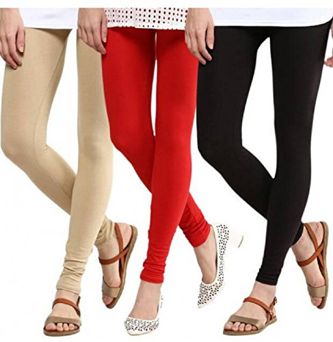 M.G.R.J Women\'s Cotton Lycra Churidar Leggings Combo (Pack of 3 Black, Beige, Red ) - Free Size