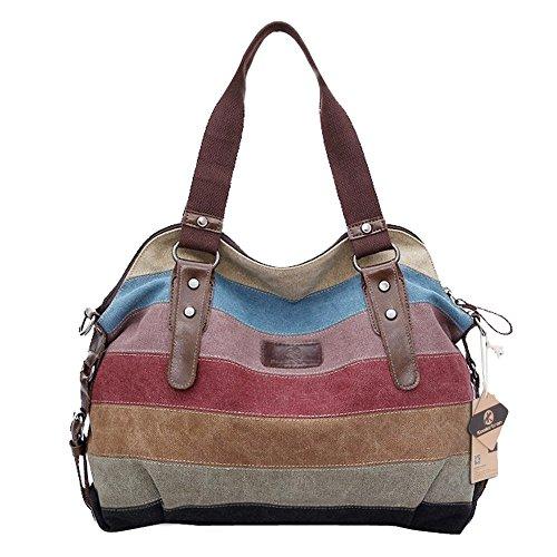 Koolertron Damen Fashion Vintage Canvas Schultertasche Damen Handtasche Messenger Taschen Tolle Umhängetaschen Outdoor Canvas Tasche Leinwand Tasche (Vermischende Farbe(1))