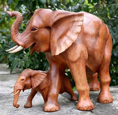 ELEFANT mit Kind Holz Tier Afrika Elephant 05